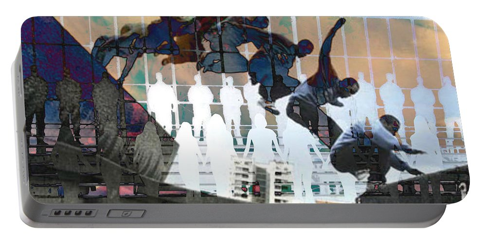 Digital Art Portable Battery Charger featuring the digital art Silhouettes Journey by Mary Clanahan