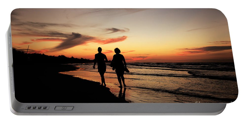 Atlantic Ocean Portable Battery Charger featuring the photograph Silhouettes On Varadero Beach by Deborah Benbrook