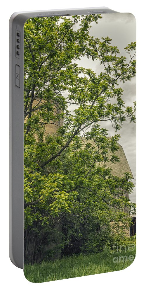 Barn; Silo; Farm; Green; Greenery; Nature; Rural; Country; Old; Tree; Summer; Sky; Clouds; Cloudy; Hidden; Obscured Portable Battery Charger featuring the photograph Silo by Margie Hurwich