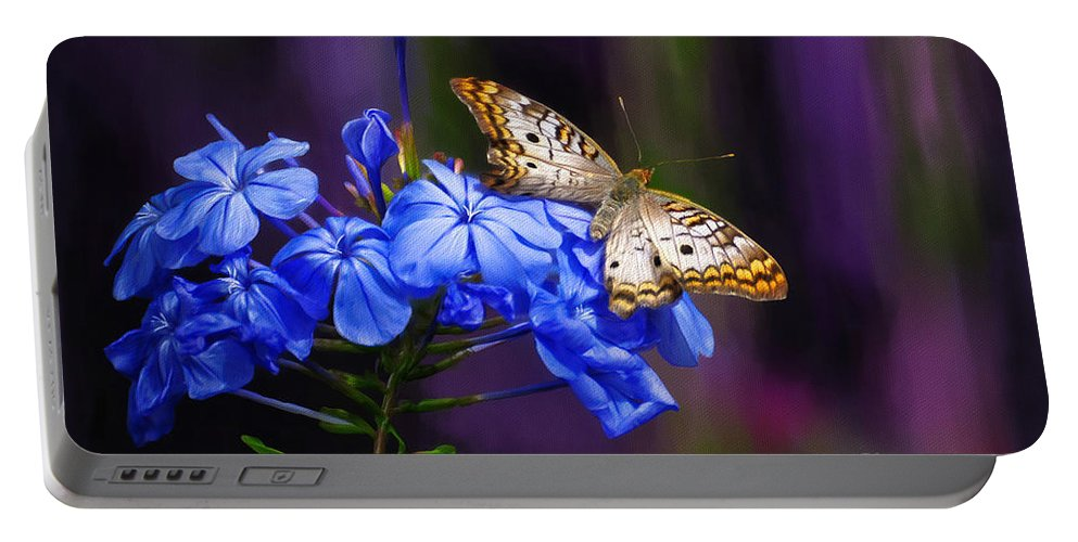 Butterfly Portable Battery Charger featuring the digital art Silver And Gold by Lois Bryan