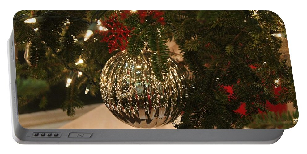 Christmas Portable Battery Charger featuring the photograph Silver Ball by Cynthia Guinn