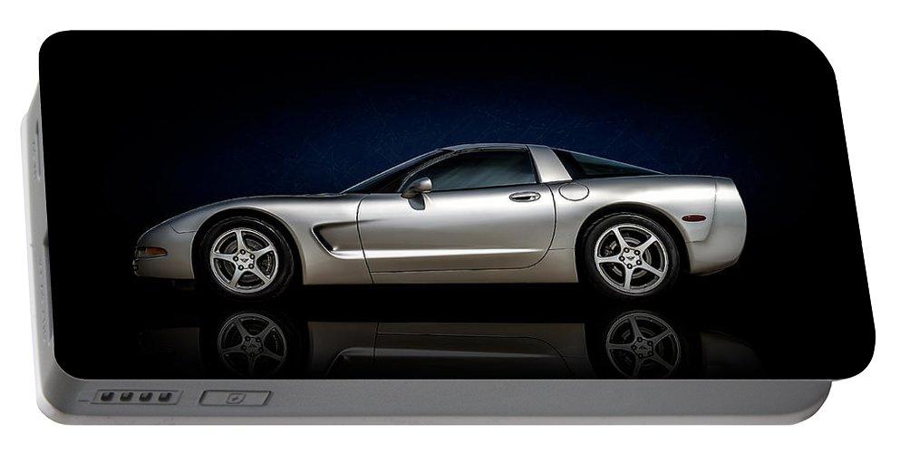 Corvette Portable Battery Charger featuring the digital art Silver C5 by Douglas Pittman