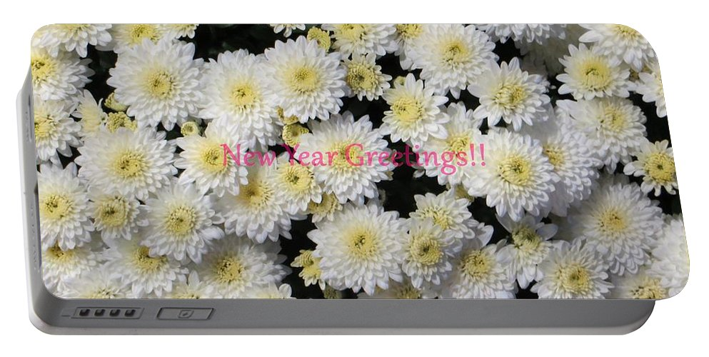 Chrysanthemum Portable Battery Charger featuring the photograph Silver Greetings by Sonali Gangane