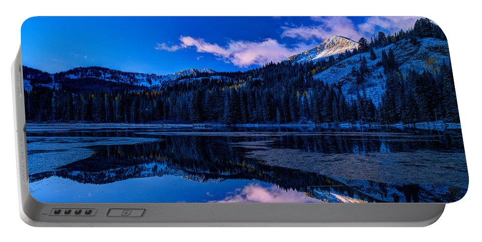 Reflection Portable Battery Charger featuring the photograph Silver Lake by Dustin LeFevre