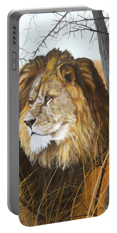 Lion Portable Battery Charger featuring the painting Simba by Johanna Lerwick
