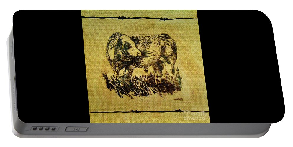 Simmental Bull Portable Battery Charger featuring the drawing Simmental Bull 12 by Larry Campbell
