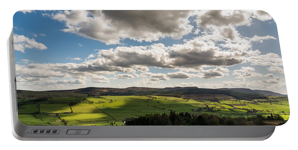 Northumberland Portable Battery Charger featuring the photograph Simonside Hills From Rothbury Terraces by David Head