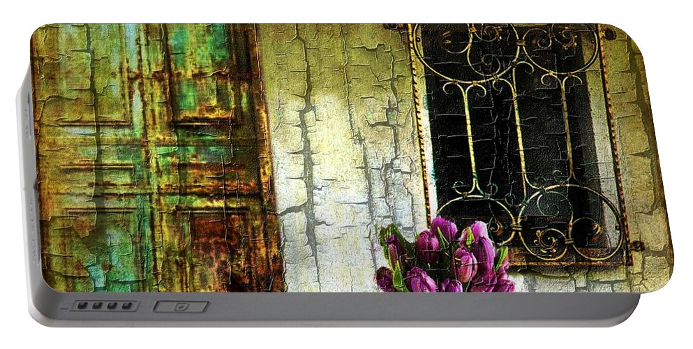 Door Portable Battery Charger featuring the digital art Simpler Times by Ellen Cannon