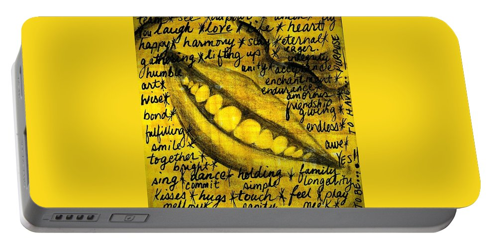Beautiful Portable Battery Charger featuring the photograph Simply Smile and your golden virtues will be written all over you by Artist RiA