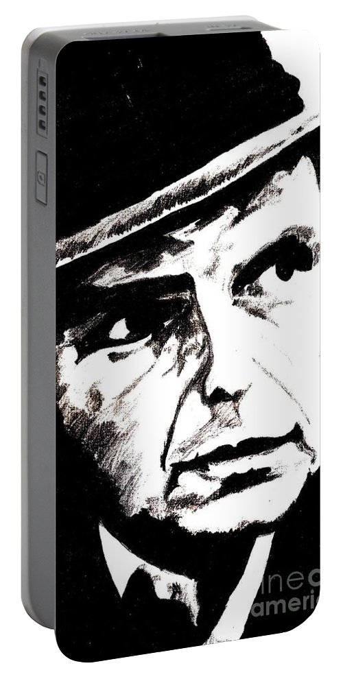 Sinatra Portable Battery Charger featuring the drawing Sinatra by Corina Hogan
