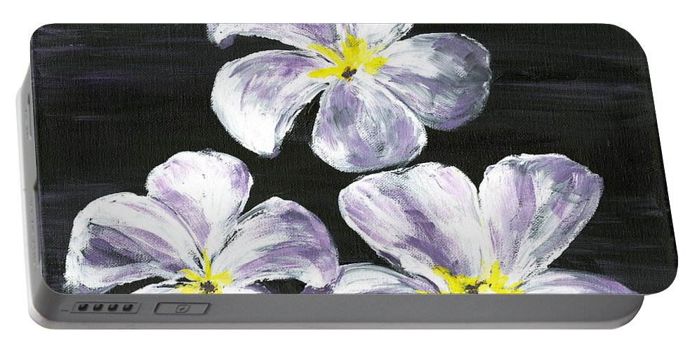Flowers Portable Battery Charger featuring the painting Singapore Gems 2 by Alice Faber
