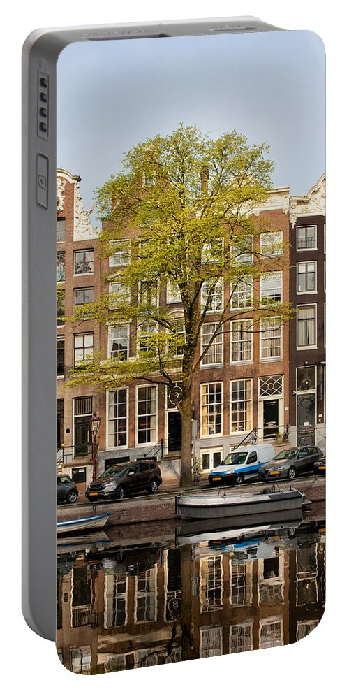Amsterdam Portable Battery Charger featuring the photograph Singel Canal Houses In Amsterdam by Artur Bogacki