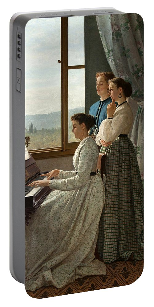 Silvestro Lega Portable Battery Charger featuring the painting Singing A Ditty by Silvestro Lega