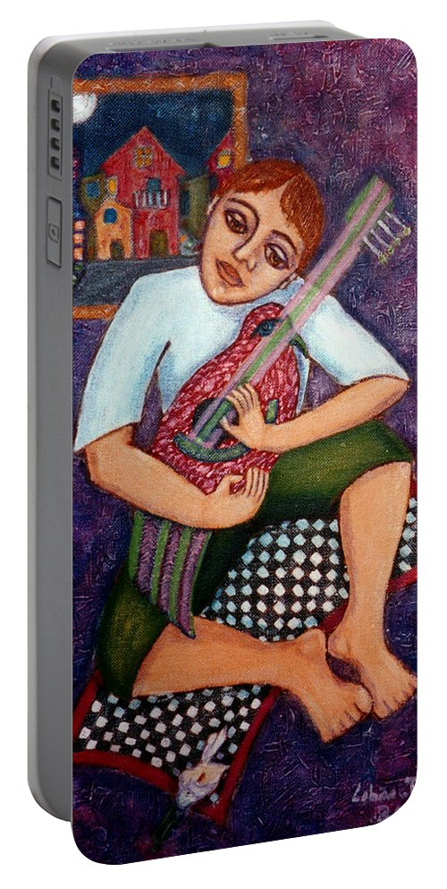 Children Portable Battery Charger featuring the painting Singing dreams by Madalena Lobao-Tello