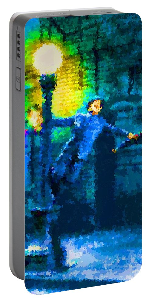 Singing Portable Battery Charger featuring the painting Singing In The Rain by Samuel Majcen