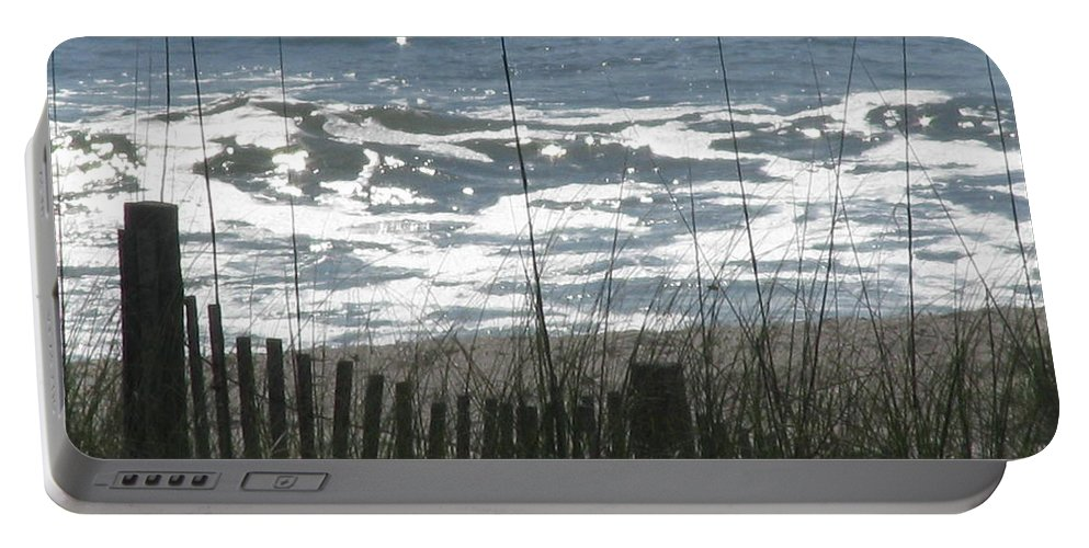 Landscape Portable Battery Charger featuring the photograph Single Dune Fence by Ellen Meakin