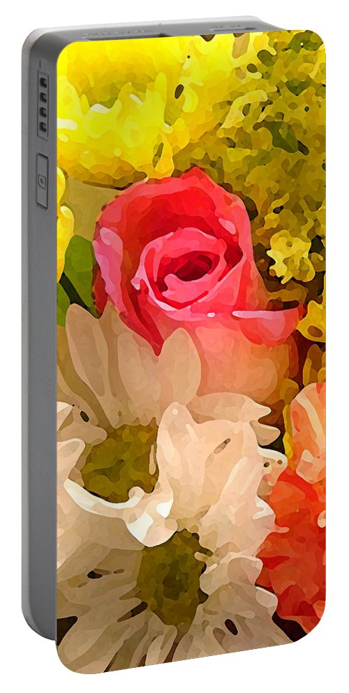 Roses Portable Battery Charger featuring the painting Single Rose Bouquet by Amy Vangsgard