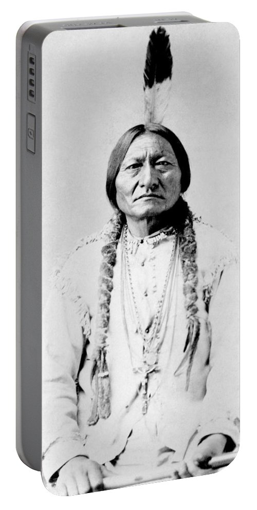 Native American Portable Battery Charger featuring the photograph Sioux Chief Sitting Bull by War Is Hell Store