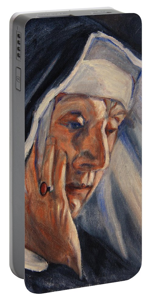 The Portable Battery Charger featuring the painting Sister Ann by Xueling Zou