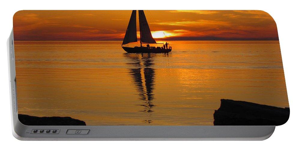 Sister Bay Sunset Sail #2 Portable Battery Charger featuring the photograph Sister Bay Sunset Sail 2 by David T Wilkinson