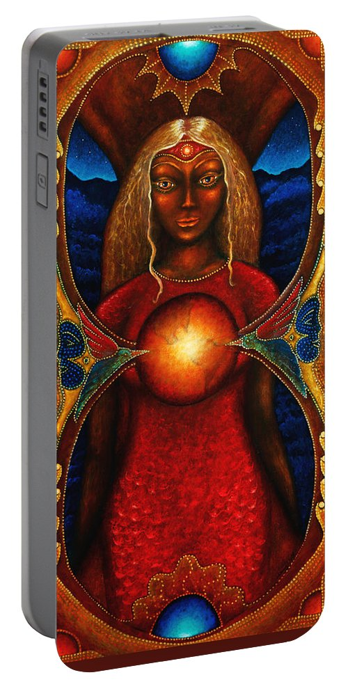 Fantasy Portable Battery Charger featuring the painting Sister Of The Stars by Kevin Chasing Wolf Hutchins