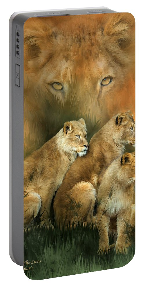 Lion Portable Battery Charger featuring the mixed media Sisterhood Of The Lions by Carol Cavalaris