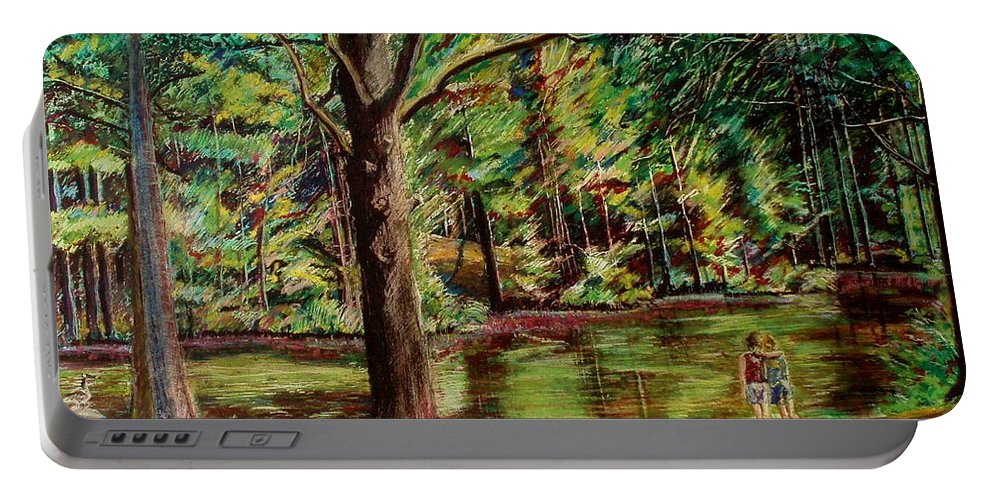 New Hampshire Portable Battery Charger featuring the pastel Sisters At Wason Pond by Sean Connolly