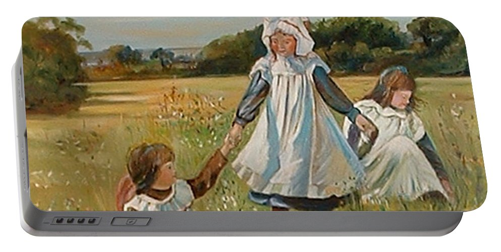 Classic Art Portable Battery Charger featuring the painting Sisters by Silvana Abel