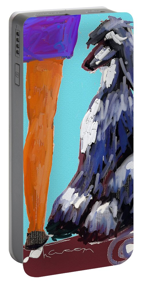 Ipad Finger Painting Portable Battery Charger featuring the painting Sit by Terry Chacon