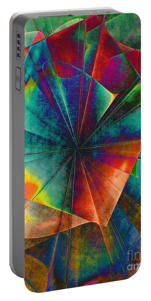 Abstract Portable Battery Charger featuring the digital art Sit With Me On The Carousel by Klara Acel