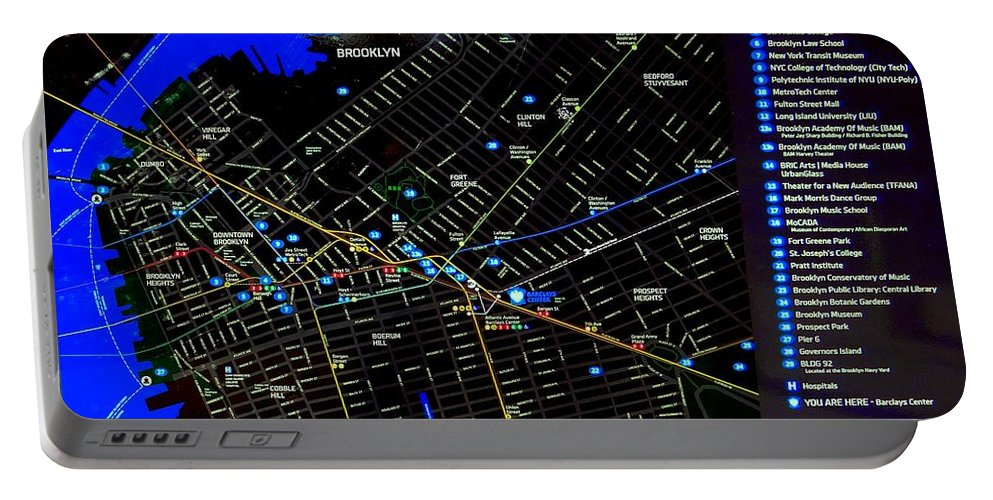 Map Portable Battery Charger featuring the photograph Sites And Subways by Ed Weidman