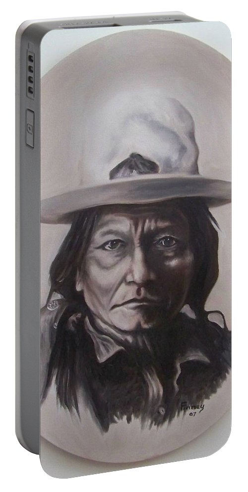 Michael Portable Battery Charger featuring the painting Sitting Bull by Michael TMAD Finney