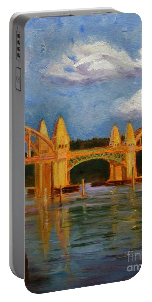 Siuslaw Portable Battery Charger featuring the painting Siuslaw River Bridge by Liz Snyder