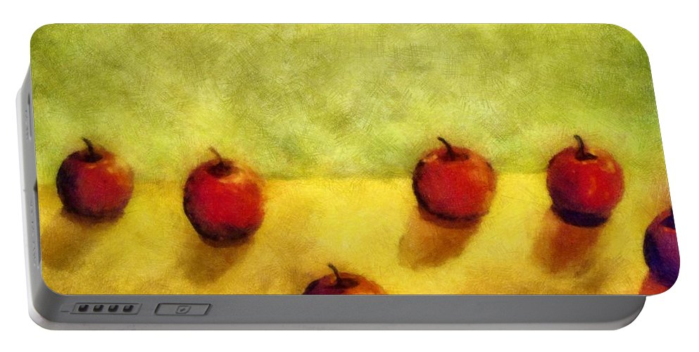Apple Portable Battery Charger featuring the painting Six Apples by Michelle Calkins