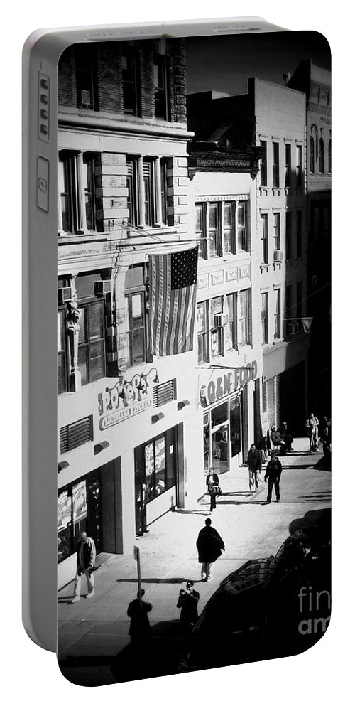 Street Scene Portable Battery Charger featuring the photograph Six O'clock On The Street - Black And White by Miriam Danar