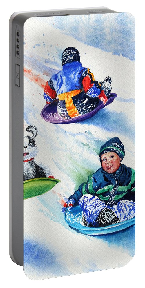 Children With Dog Painting Portable Battery Charger featuring the painting Sizzling Saucers by Hanne Lore Koehler