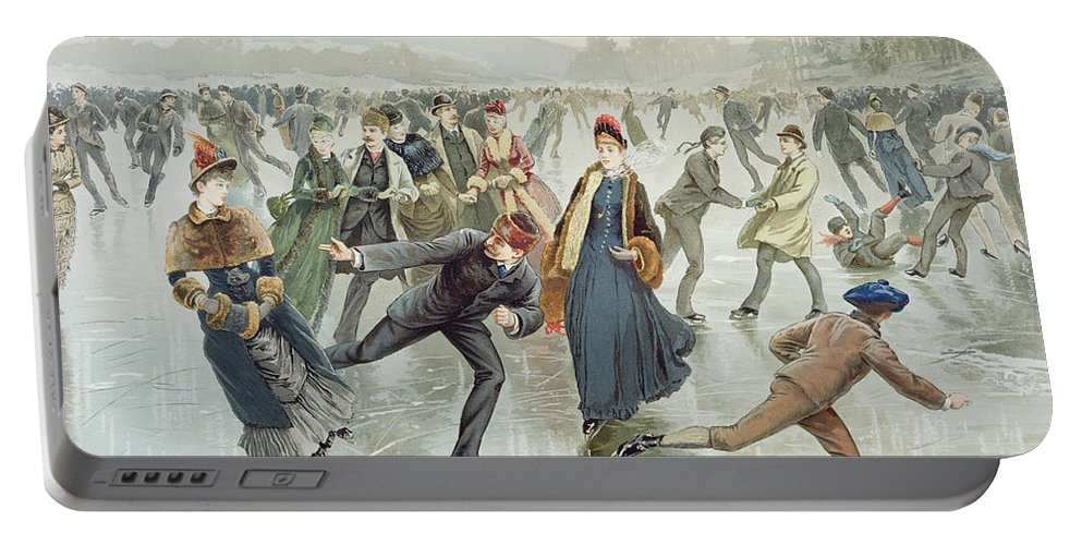 Frozen Pond Portable Battery Charger featuring the painting Skating by Harry Sandham