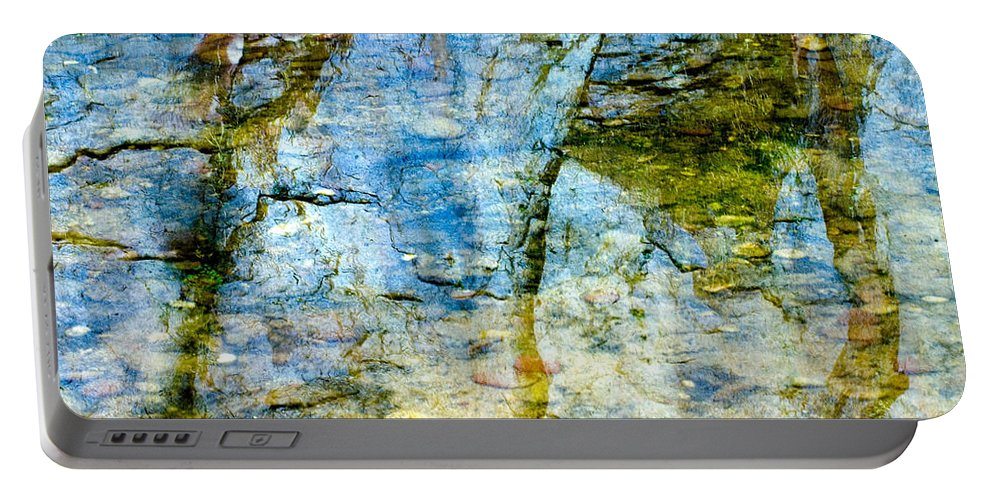 Skeletal Abstract Is A Photograph Of The Reflection Of The Mountain Side In Oak Creek Canyon. Portable Battery Charger featuring the photograph Skeletal Abstract by Mae Wertz