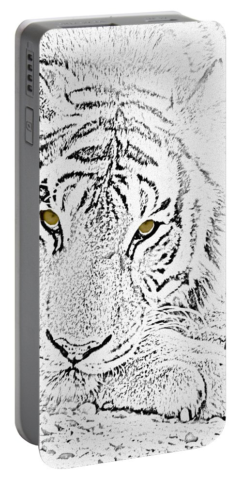 Tiger Portable Battery Charger featuring the photograph Sketch With Golden Eyes by Crystal Heitzman Renskers
