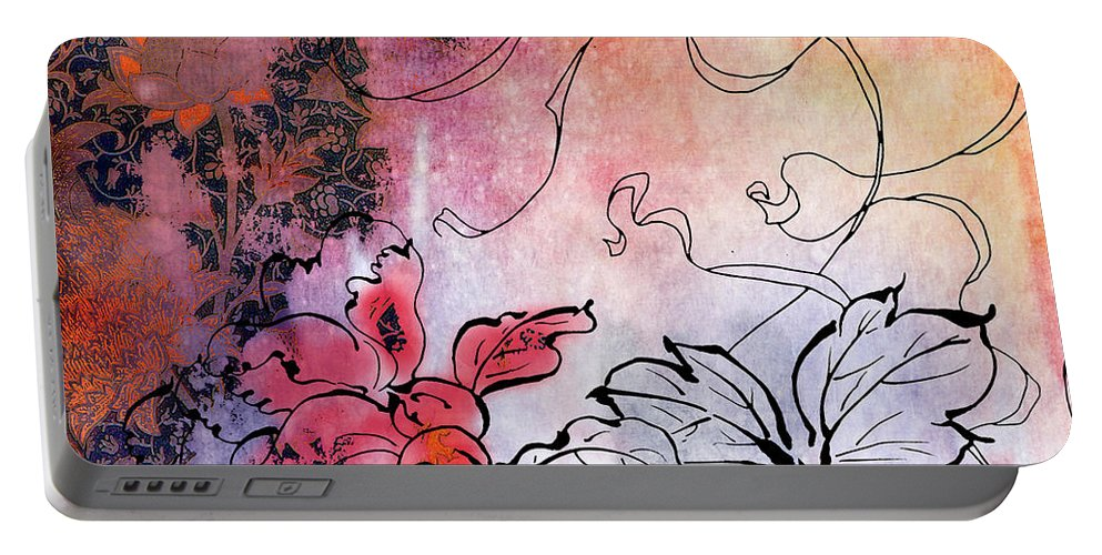 Flowers Portable Battery Charger featuring the painting Sketchflowers - Calendula by MGL Meiklejohn Graphics Licensing