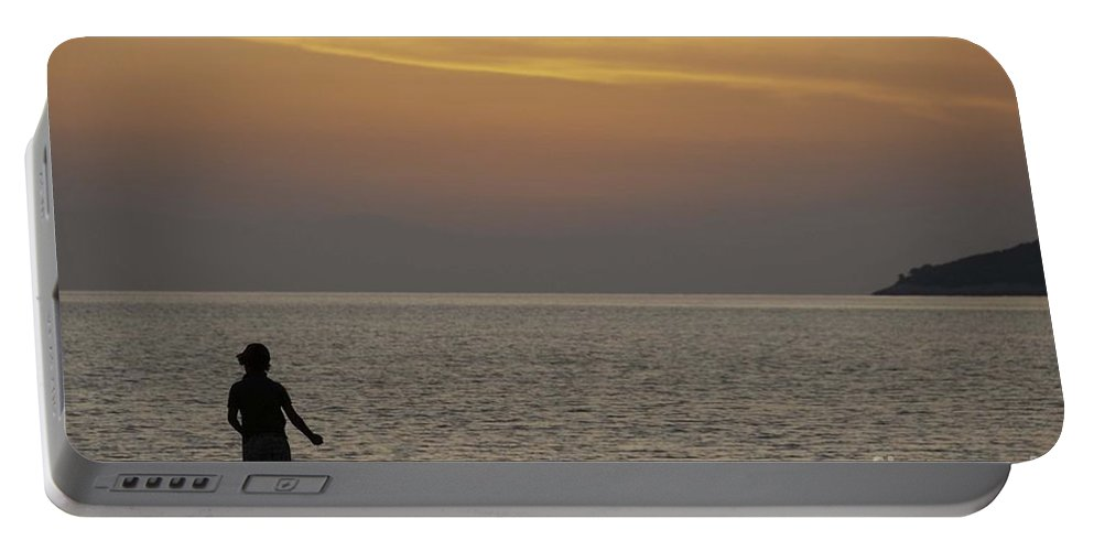 Skopelos Portable Battery Charger featuring the photograph Skopelos Sunset - Fisher Boy - 2 by James Lavott