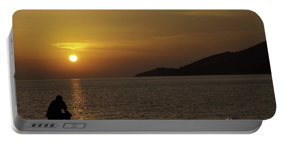 Skopelos Portable Battery Charger featuring the photograph Skopelos Sunset - The Thinker - 2 by James Lavott
