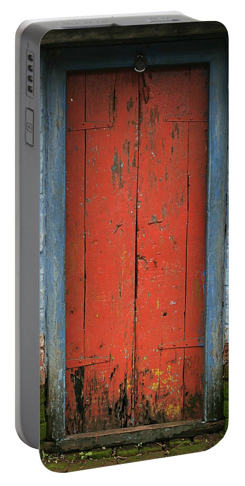 Abstract Portable Battery Charger featuring the photograph Skc 0401 Closed Red Door by Sunil Kapadia