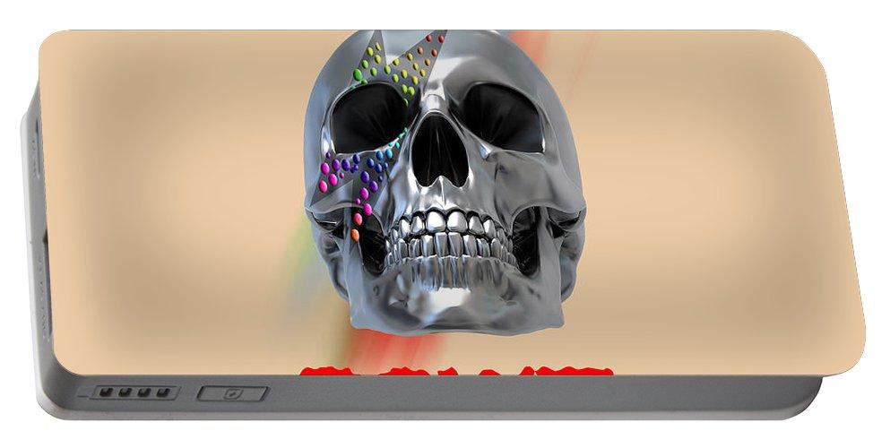Via De Los Muertos Portable Battery Charger featuring the digital art Skull Bowie by Mark Ashkenazi