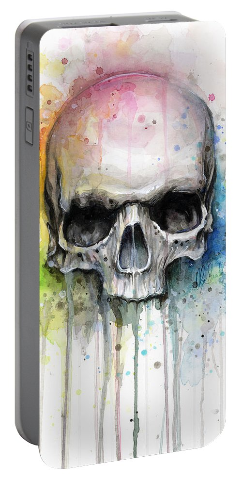 Skull Portable Battery Charger featuring the painting Skull Watercolor Painting by Olga Shvartsur