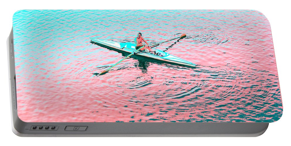 Rebecca Korpita Portable Battery Charger featuring the photograph Skulling Boat At Sunset by Rebecca Korpita