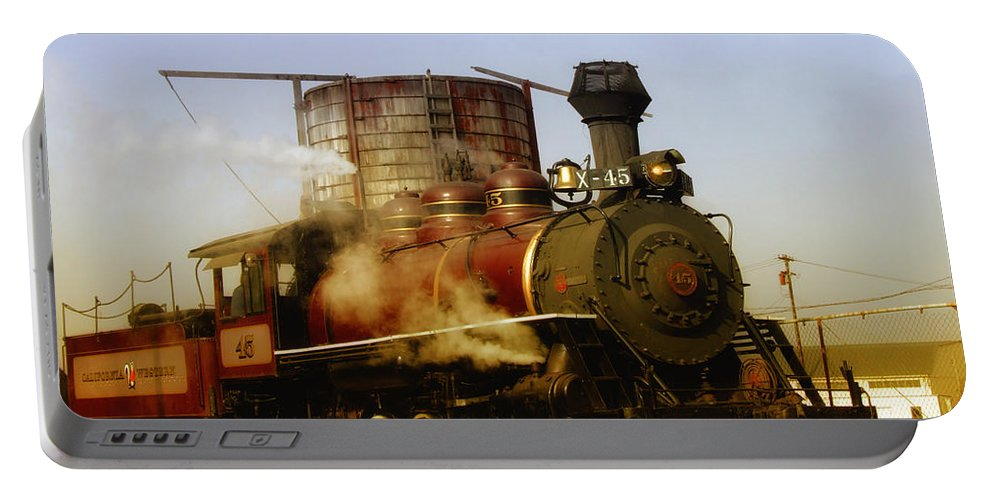 Mendocino Skunk Train Portable Battery Charger featuring the photograph Skunk Train by Donna Blackhall
