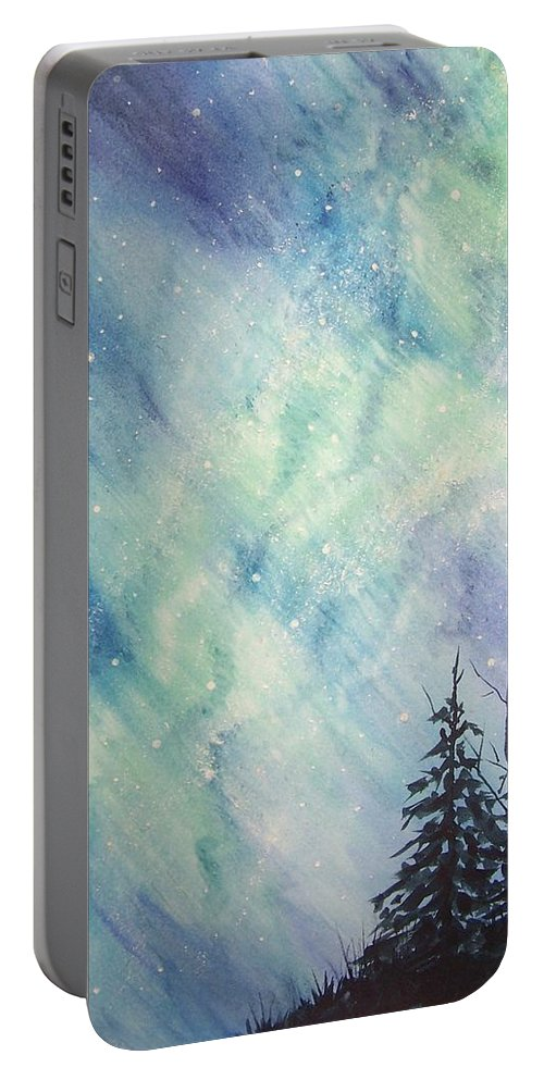Landscape Portable Battery Charger featuring the painting Sky Dance by Conni Reinecke