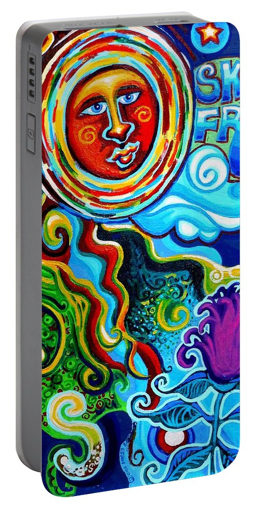 Sky Fruit Portable Battery Charger featuring the painting Sky Fruit by Genevieve Esson