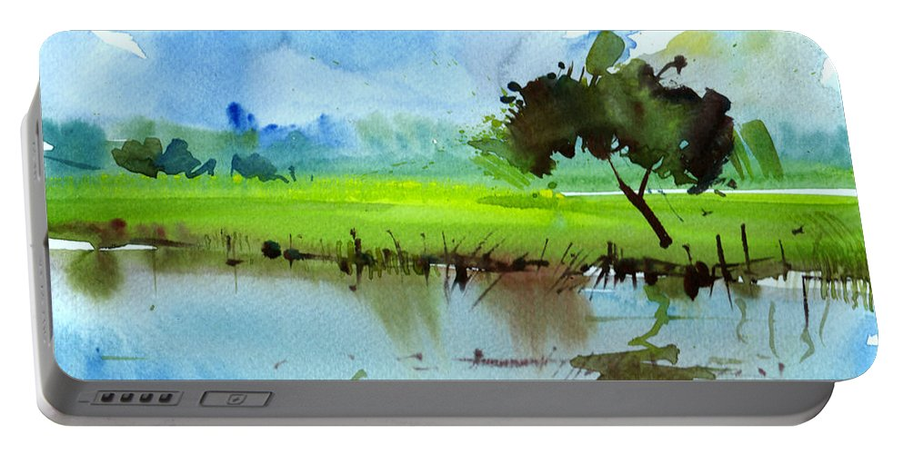 Nature Portable Battery Charger featuring the painting Sky N Farmland by Anil Nene